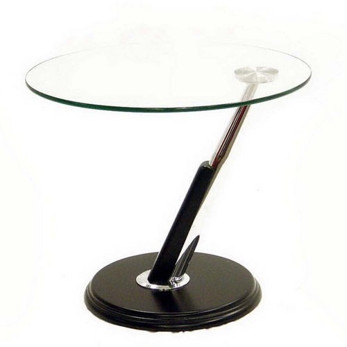 Cheap Baxton Studios – Round Glass Top End table (CE-7101-Black)