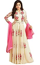 Sitaram womans semistitched cream georgette gown with mirror embroidery type dress material.
