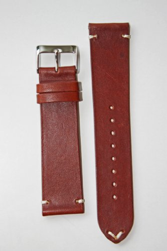 Horween Vintage Style Calfskin Leather 19Mm Cognac With Matching Lining And Hand-Stitch