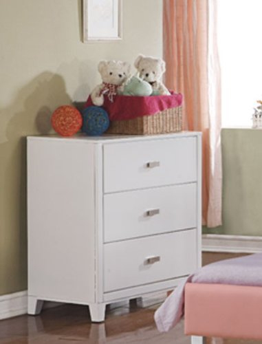 Cheap Kids Dresser with Silver Handle in White Finish (VF_F4833)
