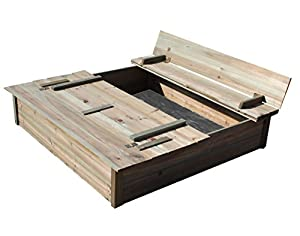 BENTLEY KIDS WOODEN OUTDOOR SQUARE SANDPIT WITH BENCH AND LID