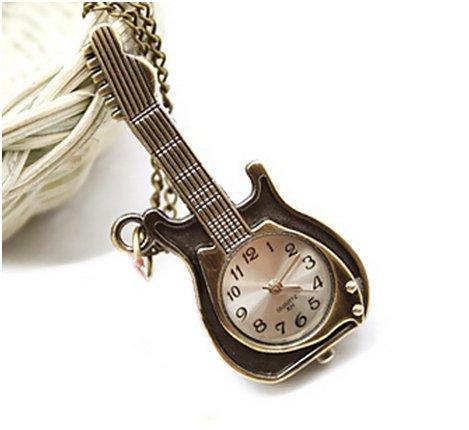Chopmall(Tm) Vintage Bronze Guitar Shape Pendant Necklace Watch front-596204