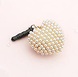 Tiny Chou Lovely Pure Pearls Lover 3.5 mm Cell Phone Charm Anti Dust Plug Earphone Cap Headphone Jack Accessory for iphone 6plus,ipods,ipads,Samsung Galaxy,Huawei,HTC