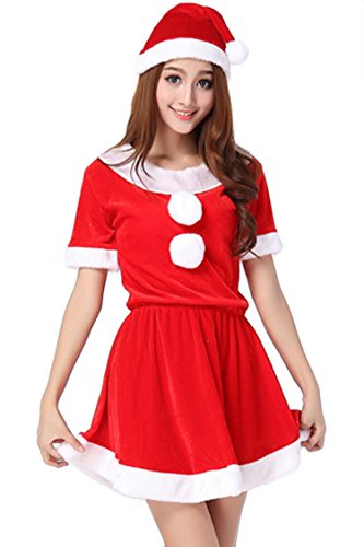 Pink Queen Womens Miss Santa Claus Costume Red Velvet Christmas Suits Dress