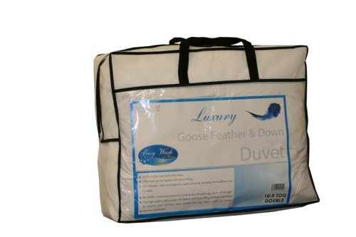 Homescapes - Luxury White Goose Feather & Down - All Seasons - Double Duvet 9 Tog + 4.5 Tog - 100% Cotton Anti Dust Mite & Down Proof Fabric - Anti Allergen - Box Baffle Construction - Washable at Home
