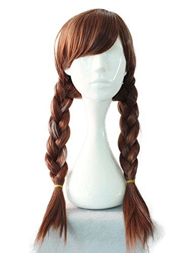 Princess Anna Wigs Adult Brown Cosplay Accessories Free Hair Cap
