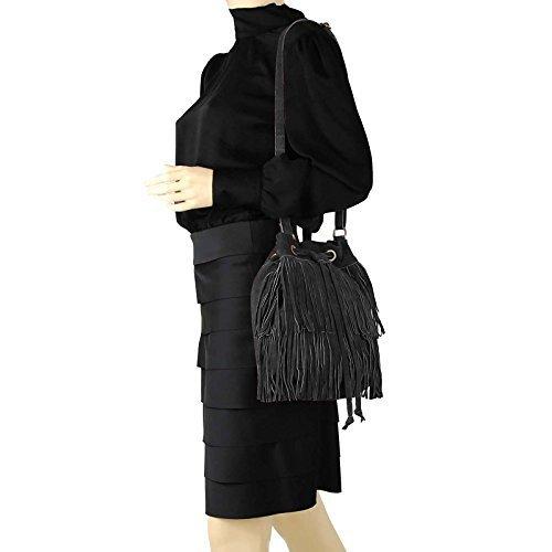 OBC Made in Italy Sac Pour Femmes Cuir Cuir sauvage Franges Shopper Sac À Bandoulière 28x27x15 cm (LxHxP)
