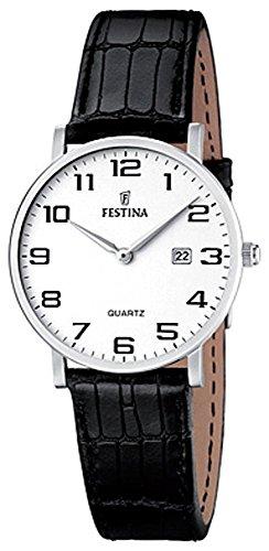 Festina Damas Reloj de pulsera reloj de cuarzo analógico de acero inoxidable reloj con pulsera de piel y fecha. Todos los modelos F16477, variante: 01