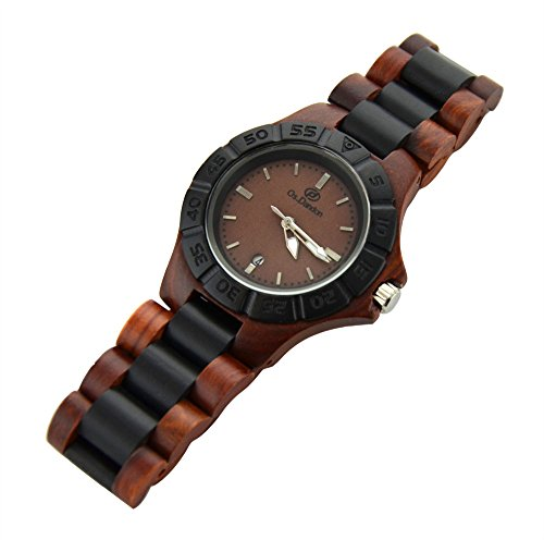 Topwell� Handmade Wooden Watches Date Watch Brown Dial Wooden Quartz Analog Men Watch with Date Calendar Wooden Watch Quartz Calendar Wood Wrist Watch Watches Gift