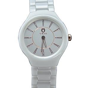 White Ceramic Strap Wristwatches Brand Quartz Watch Water Resistant Women Rhinestone Watches
