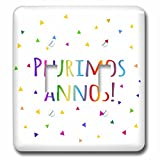 InspirationzStore Many Different Languages - Plurimos annos. Happy Birthday in Latin colorful rainbow text confetti - Light Switch Covers - double toggle switch (lsp_202044_2)