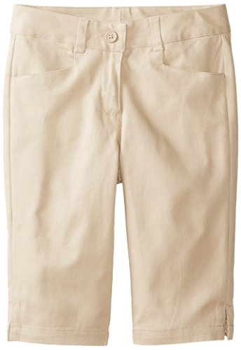 KHQ Big Girls' Stretch Twill Skimmer Short, Khaki, 12