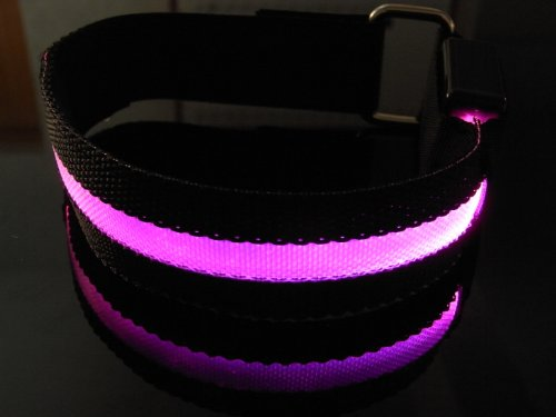 WalGap Roadway Safety Flashing LED Armband Flexible Running Light Armband-(8 Color) (Pink)