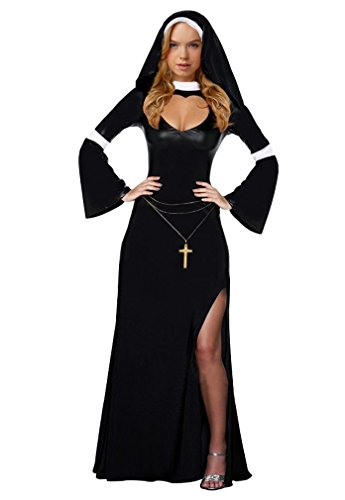 Amour- Sexy Nun Women Adult Costume Long Gown Dress Halloween Fancy Party Carnival