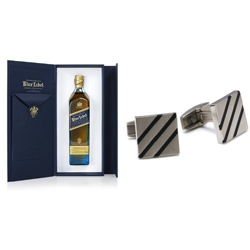 discount duty free Johnnie Walker Blue Label Blended Scotch Whisky 20cl and Boccia Titanium Cufflinks