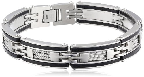 Men's Stainless Steel, Cable, and Rubber Bracelet