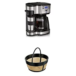 Hamilton Beach Single Serve Coffee Brewer and Full Pot Coffee Maker and 80675 Permanent Gold Tone Filter Bundle from Hamilton Beach