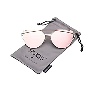 SojoS® Cat Eye Mirrored Flat Lenses Street Fashion Metal Frame Women Sunglasses With Gold Frame/Pink Lens SJ1001