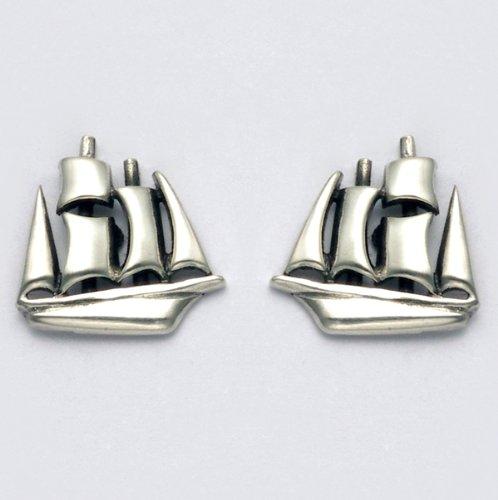 Sterling Silver Clipper Ship Stud Earrings