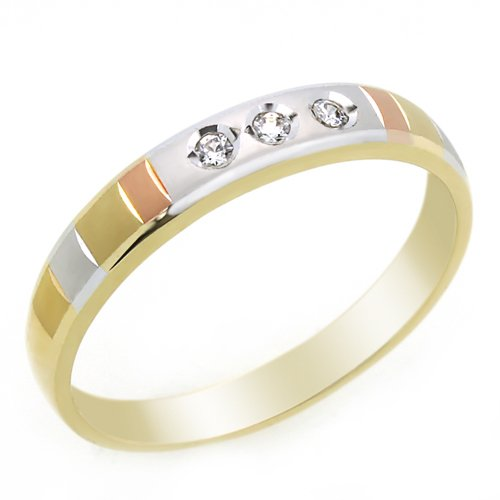 Little Treasures 14 ct Engagement Ring 0.1ctw CZ Cubic Zirconia Women's Wedding Band Tri-Color Gold Ring