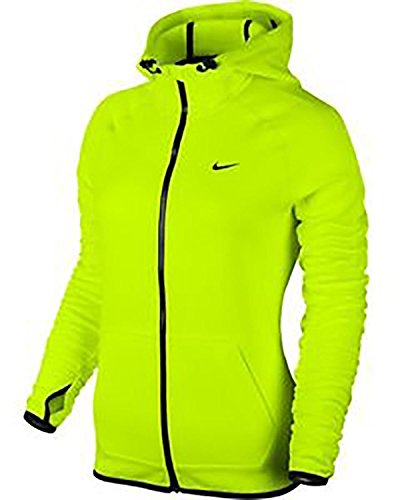 Nike Womens All Time Tech Full-zip Hoodie Volt/black Large