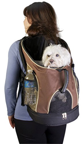 Easy Access Zippered Top and Bottom Backpack Pet Carrier with Mesh Windows