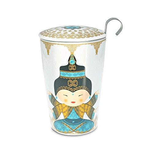 """Teaeve ® tasse à thé avec passoire et couvercle, """"little shiva océan"""", pour env. 350 ml, dans une boîte cadeau"""
