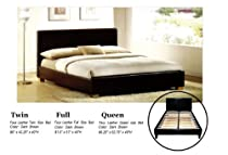 Hot Sale Faux Leather Platform Bed with Built In Box Spring and Headboard (Queen)