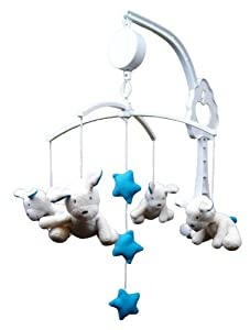 Bunny Rabbit or Dog Pink Or Blue Soft Toy Baby Nursery Cot Musical Lullaby Classic Mobile (Dog - Blue)