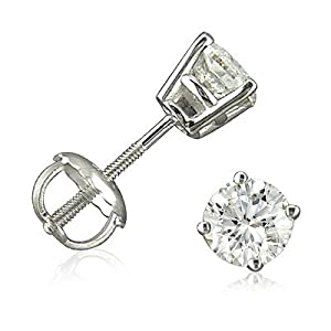 14K White Gold Round Screw-Back Diamond Stud Earrings (2/3ct tw)