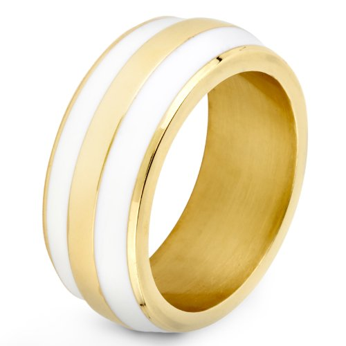 Stainless Steel Enamel Double Striped Gold Plated Band Ring - White - Size 5