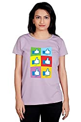 Tantra Like Pop Women's Cotton Half Sleeve Round Neck T Shirt Orchid Bloom , Large