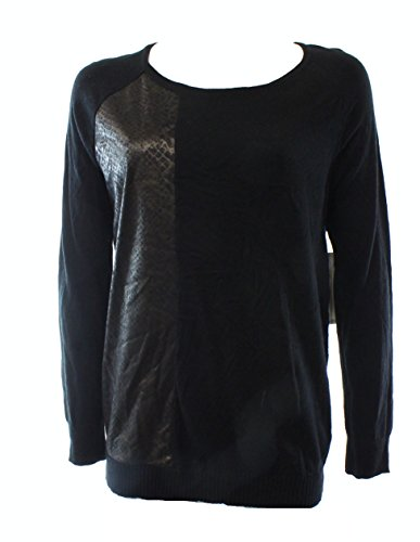 Calvin Klein Jeans Womens Faux-Leather Scoop Neck Sweater