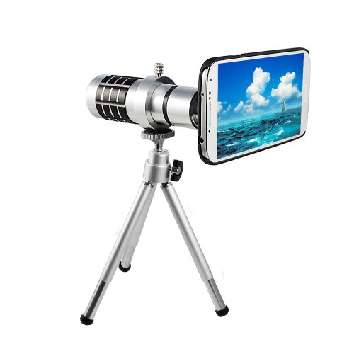 Lerway 12X Zoom Magnifier Micro Telephoto Telescope Camera Lens Tripod For Samsung Galaxy S4 I9500