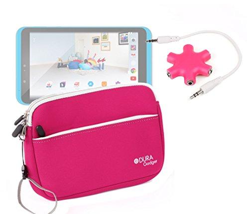 DURAGADGET Tesco Hudl 2 (Released 2014) Case - Pink Neoprene Zipped Pouch With Front Storage Compartment For Tesco Hudl 2 + BONUS Headphone Splitter!