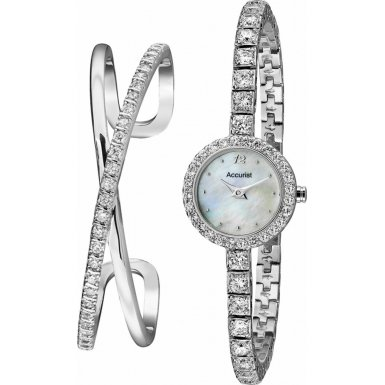 Accurist Ladies Silver Tone Watch & Bracelet Set LB1800
