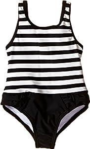kate spade york Babies' Stripe Ruffle One-Piece, Black/Cream