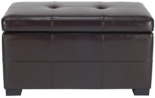 Safavieh Hudson Collection NoHo Tufted Brown Leather Small Storage Bench