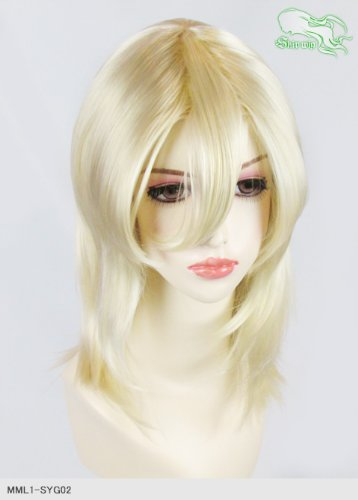 スキップウィッグ 魅せる シャープ 小顔に特化したコスプレアレンジウィッグ フェザーミディ バニラ