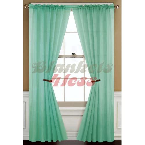Mint Green Solid 2 Piece Voile Sheer Window Curtain Panels Window Treatment Curtains