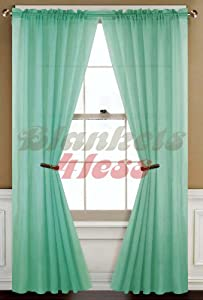Mint green solid 1 sheer window curtain panel window treatment curtains - Mint green kitchen curtains ...