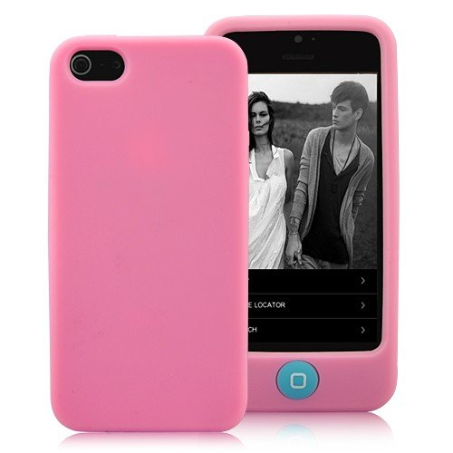 Special Sale Pink Soft Cotton Candy Gel Case with Light Blue Home Button Design For the NEW Apple iPhone 5 (AT&T, Verizon, Sprint)
