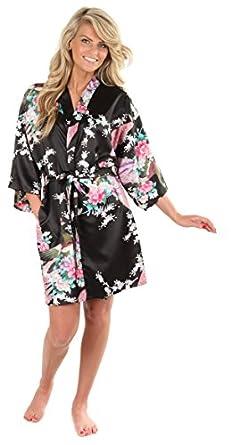 VEAMI Women's Kimono Robe, Peacock Design-Black-Small/Medium, Short