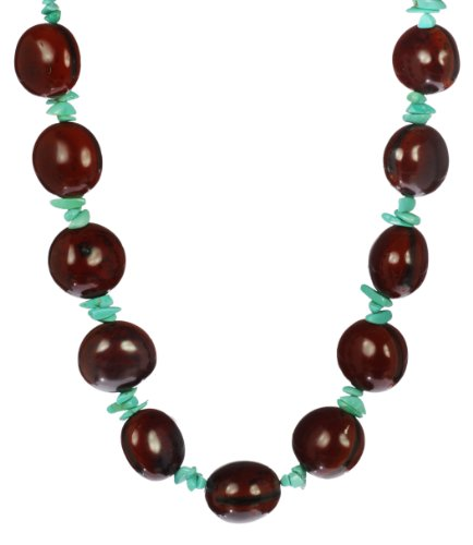 Kukui Seeds and Turquoise Chips Necklace, 18