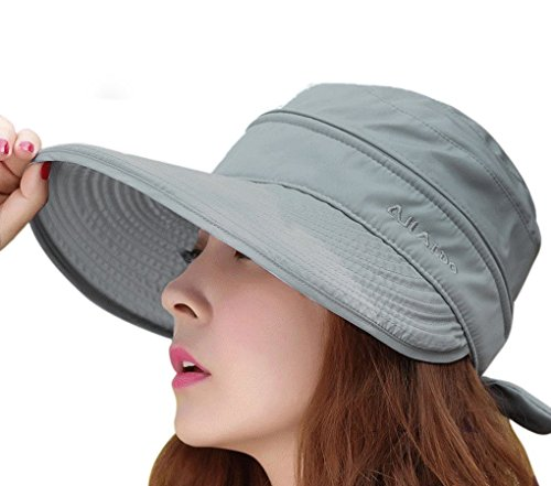 Women's Summer 2 in 1 Anti UV Folding Golf Tennis Cycling Fishing Cap Removable Top Cover Open-top Cotton Wide Brim Sun Hat Shapeable Peaked Butterfly Knot Floppy Travel Bucket Cap Beach Sun Visor UPF 50+ (Sun Visor Butterflies compare prices)