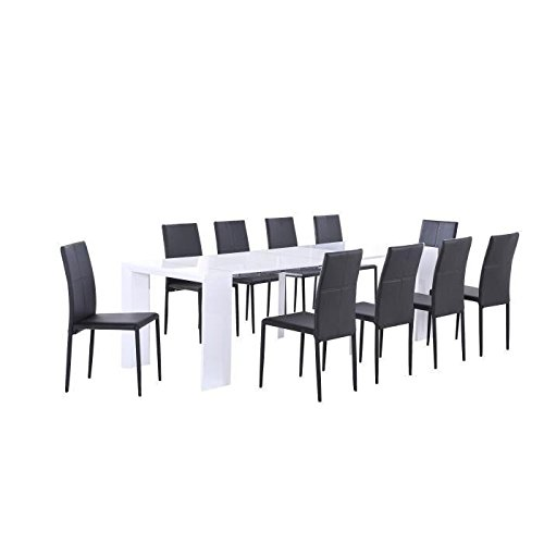 Moloo Table console extensible Laqué Biseautée Laquée Blanc 250 Cm 250 x 90 x 75 cm