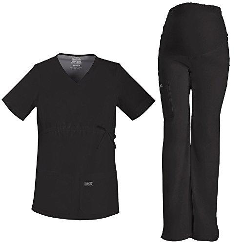 Core Stretch by Cherokee Workwear Women's Maternity Scrub Top & Scrub Pant Set X-Small Black