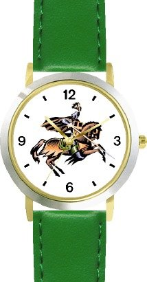buy Knight On Horseback Ready For The Joust Horse - Watchbuddy® Deluxe Two-Tone Theme Watch - Arabic Numbers - Green Leather Strap-Size-Large ( Men'S Size Or Jumbo Women'S Size )