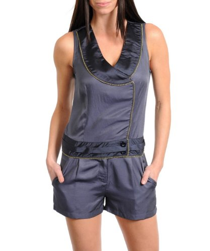 G2 Fashion Square Women's Satin Lapel Side Closure Romper
