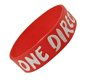 Red One Direction Wristband I Love One Direction Bracelet 1 Wide 15 by Hinky Imports